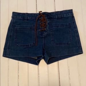 Design Lab Lord & Taylor Jean Shorts Lace Up 4
